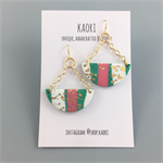 Handcrafted polymer clay earrings with gold plated hooks- jade green pink white