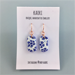 Little tile polymer clay earrings rose gold plated hooks- indigo blue and white