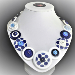 Button necklace -  Forget-Me-Not