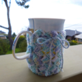 Mug cozy, coffee cosy, cup warmer   pastel multicolours   birthday, teacher gift