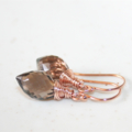 Smoky Quartz Dew Drop Earrings, 14K Rose Gold Filled, Wire Wrapped
