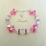 Bracelet - Pink - Rose - Clear -  Swarovski - Crystal - Adjustable - B037