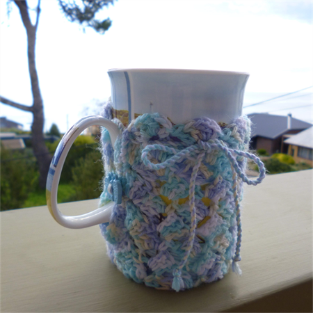 Mug cozy, coffee cosy, cup warmer | pastel multicolours | birthday, teacher gift