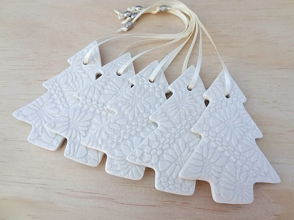 White And Blue Christmas Tree Decorations Ceramic Ornaments