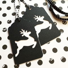 Black and White Christmas reindeer gift tags. Swing tags. Xmas gift wrapping.