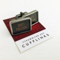 Vintage typewriter-key cufflinks - black rectangular SHIFT FREEDOM keys