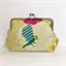 Birdie bag linen blend fabric. 20 cm clutch purse framed. with chain,
