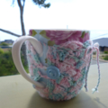 Mug cozy, coffee cosy, cup warmer   pastel colours   birthday or teacher gift