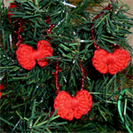 Set of 3 red crocheted Christmas bows | tree decorations