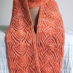 Scarf, Long, Woman's, Pure Wool, Apricot, Handspun Hand Knitted