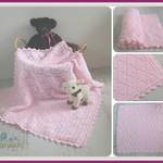 Pink Diamond Newborn Hand Crocheted Baby Blanket