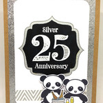 Silver 25 Anniversary Panda Toasting Couple Large handmade card