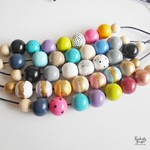 Painted Wood Bead Necklace - Adjustable
