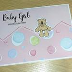 Baby Girl card - teddy bear