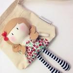 My Teeny-Tiny Doll®️ Gemma & Carry-Me Bag Set - Handmade Fabric, Rag Doll