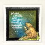 Watercoloured Handmade Baby Bear & Mama Bear Star-Gazing square card