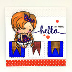 'Hello my friends' Cute  Country Girl Square handmade card