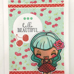 Funky Retro Vintage Blue-haired Cherry Girl 'Hello Beautiful'