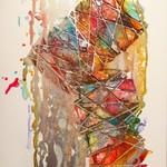 Original Abstract Mixed Media Rainbow Glitter & Ink Artwork - 'Candy Splat'
