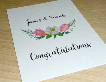 Personalised Wedding Engagement Anniversary card - Floral