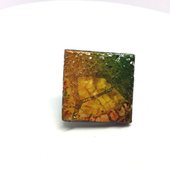 Autumn Tones Brooch Green and Oranges- FREE POSTAGE