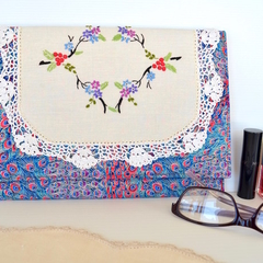 Boho wallet, peacock clutch, doily purse