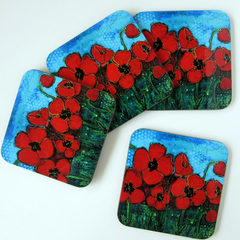 Red Poppy Drink Coasters - Set of 4