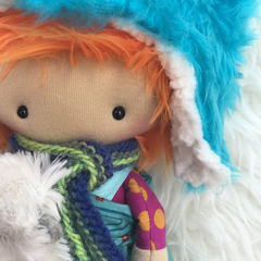Ed and Squid - One of a Kind Clucky Lily doll and silkie chicken
