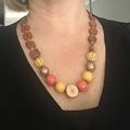 Sunshine days chunky beaded yellow orange wood necklace by Sasha+Max