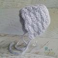 Vintage Grey Hand Crocheted Newborn Baby Bonnet Beanie Hat Photo Prop