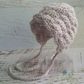 Vintage Fawn Hand Crocheted Newborn Baby Bonnet Photo Prop