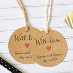 With Love Personalised Wedding Favor Tag, Wedding Gift Tag, Bonbonniere Tag