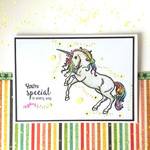 """Rainbow Unicorn """"You're Special in Every Way"""" Glitter Handmade C6 card"""