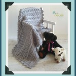 Grey Newborn Hand Crocheted Cable Baby Blanket Afghan