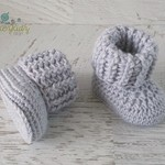 Grey Newborn Crochet Baby Booties Shoes Socks Baby Reveal