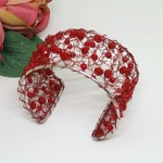 Red Crochet Wire Cuff Bracelet Handmade OOAK  by Top Shelf Jewellery