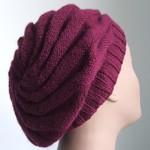 Hat, Beret, Woman's, Wool, Burgundy, Hand Spun & Knitted, Spiral Design