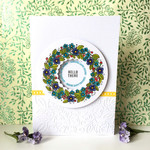 Floral Wreath 'Hello - Sending Happy Thoughts' Cheerful Handmade C6 Card