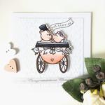 Wedding Carriage Cute Bear Couple Handmade C6 Card