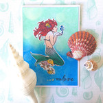 Mermaid 'With Love' Sea-themed Hand-coloured C6 Card