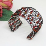 Black Red Crochet Wire Cuff Bracelet Handmade OOAK  by Top Shelf Jewellery