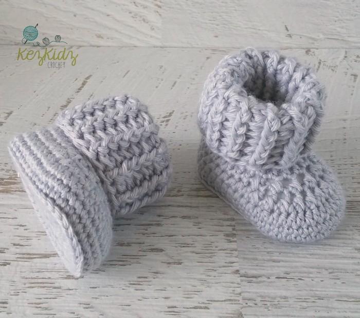 Grey Newborn Crochet Baby Booties Shoes Socks Baby Reveal Kezkidz