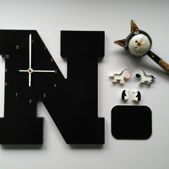 "BLACK WOODEN LETTER ""N"" CLOCK"