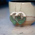 Seafoam Green Porcelain drip hoop earings - handmade