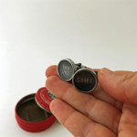 Typewriter-key cufflinks in a vintage Peerless tin - 'SHIFT' + 'BACK SPACE' keys