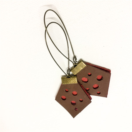 Brown and red leather dot earrings