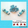 Set of flower & double bow hairclips - you choose colour