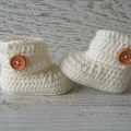 Cream Crochet Baby Booties Pregnancy Announcement Baby Reveal