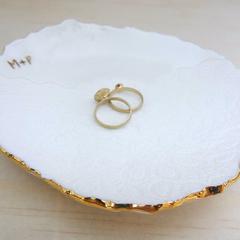 Personalised gold wedding ring dish, ring holder, Ceramic bowl. Ring pillow.