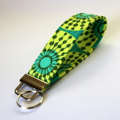 Wrist Key Fob / Keyring - Yellow & Green Circles